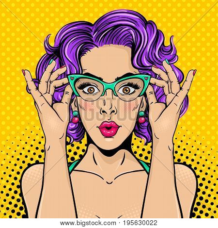 Wow pop art female face. Closeup of sexy surprised young woman with wide open eyes open mouth and bright curly hair holding her glasses. Vector colorful background in pop art retro comic style.