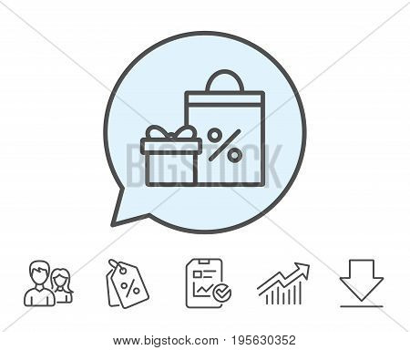 Gift box with Shopping bag line icon. Present or Sale sign. Birthday Shopping with Discounts symbol. Package in Gift Wrap. Report, Sale Coupons and Chart line signs. Download, Group icons. Vector