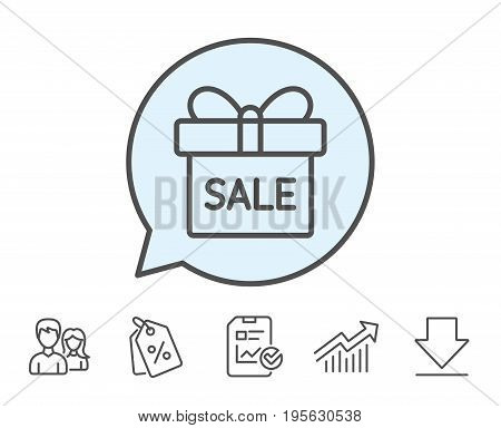 Gift box line icon. Present or Sale sign. Birthday Shopping symbol. Package in Gift Wrap. Report, Sale Coupons and Chart line signs. Download, Group icons. Editable stroke. Vector