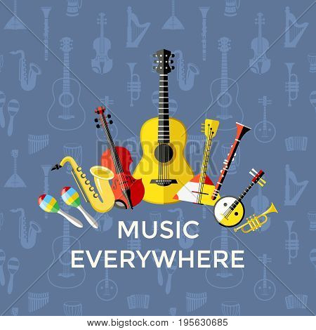 Digital vector blue music everywhere instruments icons with drawn simple line art info graphic, presentation with guitar, piano, drums and sound elements around promo template, flat style