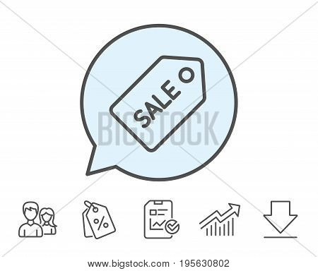 Shopping tag line icon. Sale Special offer sign. Coupon symbol. Report, Sale Coupons and Chart line signs. Download, Group icons. Editable stroke. Vector
