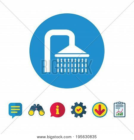 Shower sign icon. Douche with water drops symbol. Information, Report and Speech bubble signs. Binoculars, Service and Download icons. Vector