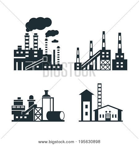 Digital vector black factory pollution icons with drawn simple line art info graphic, presentation with plant, smoke, environment and energy elements around promo template, flat style