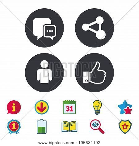 Social media icons. Chat speech bubble and Share link symbols. Like thumb up finger sign. Human person profile. Calendar, Information and Download signs. Stars, Award and Book icons. Vector