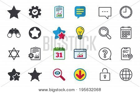 Star of David icons. Sheriff police sign. Symbol of Israel. Chat, Report and Calendar signs. Stars, Statistics and Download icons. Question, Clock and Globe. Vector
