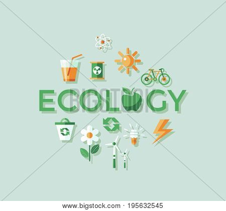 Digital vector green ecology icons with drawn simple line art info graphic, presentation with recycle, flowers and alternative energy elements around promo poster template, flat style