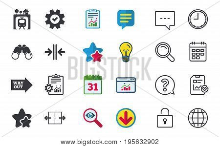 Underground metro train icon. Automatic door symbol. Way out arrow sign. Chat, Report and Calendar signs. Stars, Statistics and Download icons. Question, Clock and Globe. Vector
