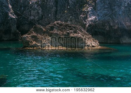 Crystalline water in the Rondinelle cave, Tremiti islands