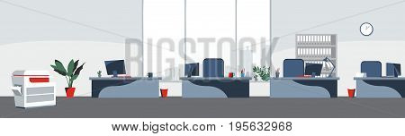 Office desktops background Vector. Workplace business style. Table and computers in an openspace. Flat style illustrations