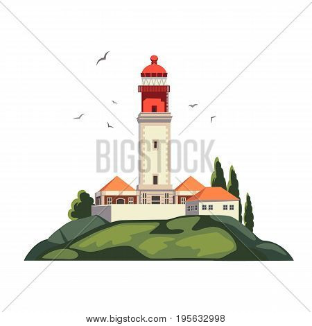 Lighthouse on coast of sea, Lighthouse infrastructure on island. Summer holidays. Cape Rock. Isolated on white background. High quality vector illustration.