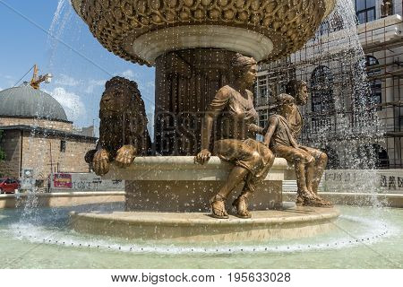 SKOPJE, REPUBLIC OF MACEDONIA - 13 MAY 2017: Philip II of Macedon Monument in Skopje, Republic of Macedonia