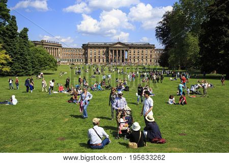 KASSEL,GERMANY-JUNE 4,2017: Waiting for water theatre in Bergpark Wilhelmshöhe, the largest European hillside park and second largest park on a hill slope in the world. Kassel, Germany on June 4,2017.