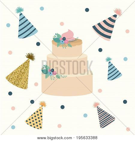 white dotted background with decorative party hat sets and multi-storey cake in the center vector illustration