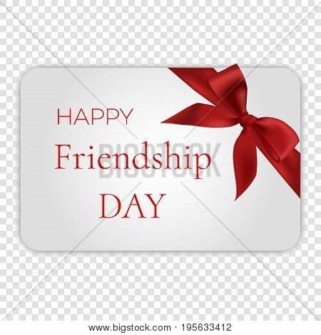 Happy friendship day card with red bow, vector illustration