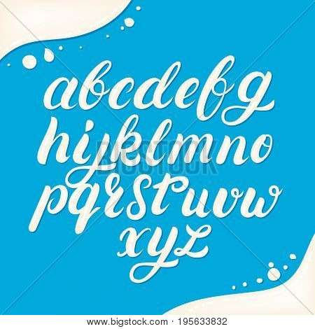 Hand written lowercase alphabet made of milk. Modern calligraphy. Font style. Brush font isolated on background. Vector illustration.