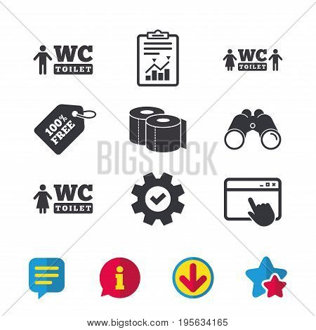Toilet paper icons. Gents and ladies room signs. Man and woman symbols. Browser window, Report and Service signs. Binoculars, Information and Download icons. Stars and Chat. Vector