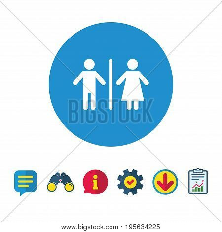 WC sign icon. Toilet symbol. Male and Female toilet. Information, Report and Speech bubble signs. Binoculars, Service and Download icons. Vector