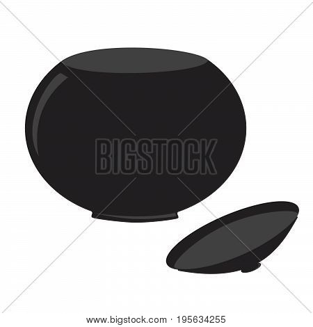 Bowl with lid cartoon icon. Kitchen tools, cookware and kitchenware vector illustration. Isolated on white