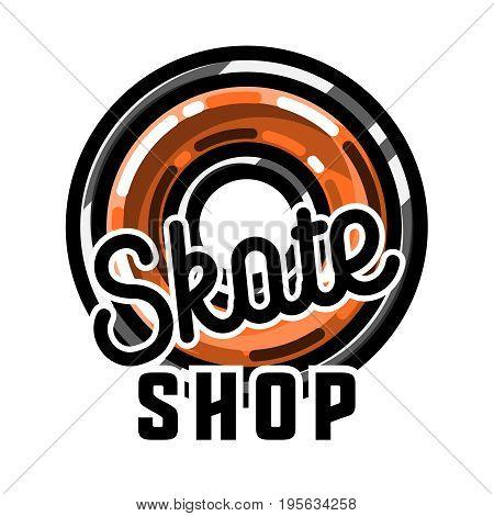 Color vintage skate shop emblem. Skate themed design elements for your project. Stock vector.