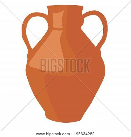 Jug with handles cartoon icon. Kitchen tools, cookware and kitchenware vector illustration. Isolated on white