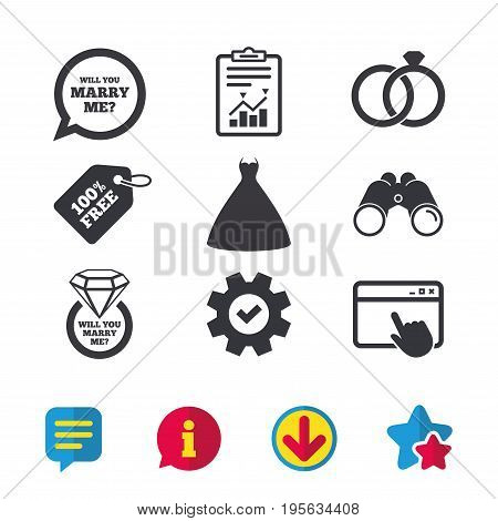 Wedding dress icon. Bride and groom rings symbol. Wedding or engagement day ring with diamond sign. Will you marry me speech bubble. Browser window, Report and Service signs. Vector