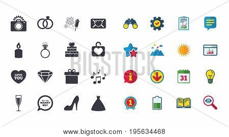 Set of Wedding and Engagement icons. Cake with heart, Gift box and Letter signs. Dress, Fireworks and Musical notes symbols. Calendar, Report and Browser window signs. Vector
