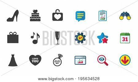 Wedding, engagement icons. Cake with heart, gift box and brilliant signs. Dress, shoes and musical notes symbols. Calendar, Report and Download signs. Stars, Service and Search icons. Vector