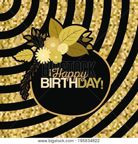 sepia color background with lines and frame with decorative flowers and text happy birthday inside vector illustration