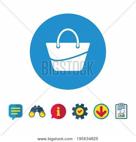 Woman bag icon. Female handbag sign. Glamour casual baggage symbol. Information, Report and Speech bubble signs. Binoculars, Service and Download icons. Vector