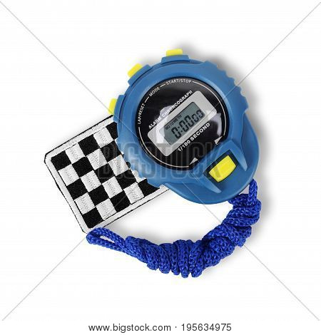 Sports equipment - Blue Digital electronic Stopwatch and finish flag on a white background