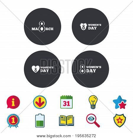 8 March Women's Day icons. Tulips or rose flowers bouquet and heart sign symbols. Calendar, Information and Download signs. Stars, Award and Book icons. Light bulb, Shield and Search. Vector