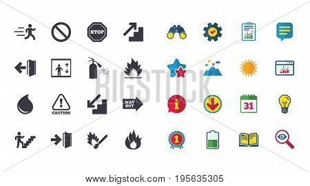 Set of Emergency, Fire safety and Protection icons. Extinguisher, Exit and Attention signs. Caution, Water drop and Way out symbols. Calendar, Report and Browser window signs. Vector