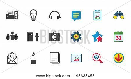 Office, documents and business icons. Accounting, human resources and group signs. Mail, ideas and money case symbols. Calendar, Report and Download signs. Stars, Service and Search icons. Vector