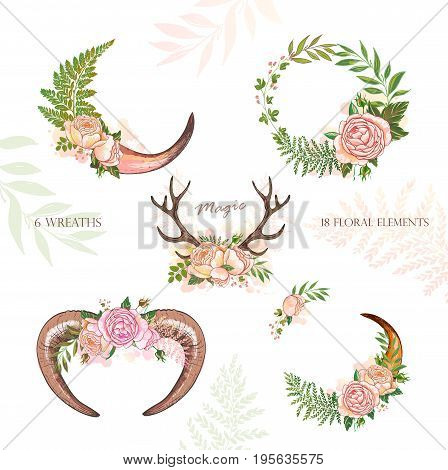 Beautiful vector set of horns with flowers. Hand drawn boho chic style design elements with horn, roses, branches, leaves and various flowers isolated on white background