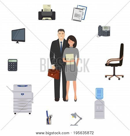Office workers are surrounded by stationery and office objects. There is a monitor, printer, telephone, calculator, chair, copy machine, lamp and other objects in the picture. Vector illustration.