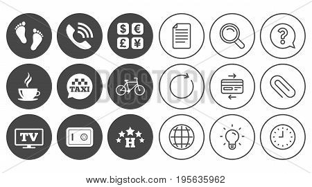 Hotel, apartment services icons. Coffee sign. Phone call, kid-friendly and safe strongbox symbols. Document, Globe and Clock line signs. Lamp, Magnifier and Paper clip icons. Vector