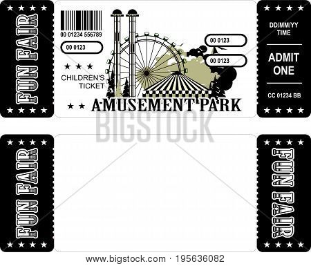Ticket for the performance and event for the magical show carnival circus amusement park two sides second confusing without information black and white