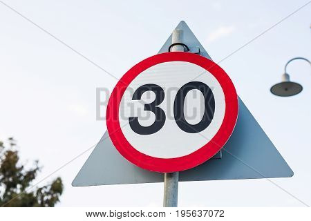 Road sign speed limit to 30, traffic sign