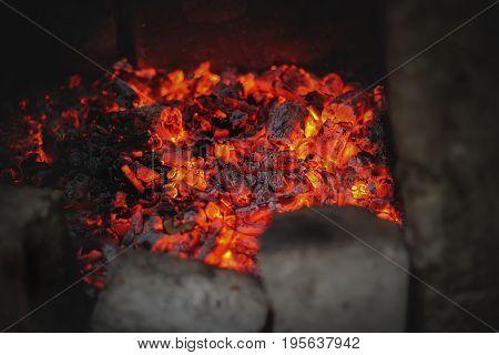 A beautiful fire of a burning fire coals