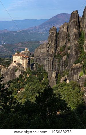 Outside view of Orthodox Monastery of St. Nicholas Anapausas in Meteora, Thessaly, Greece