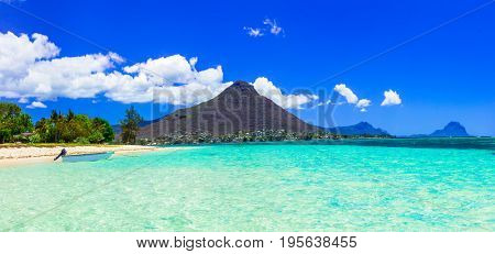 Beautiful Mauritius island with gorgeous beach Flic en flac