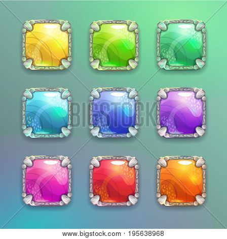 Beautiful colorful cartoon crystal square buttons set. Vector assets for web or game design