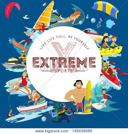 Set of water extreme sports icons, isolated design elements for summer vacation activity fun concept, cartoon wave surfing, sea beach vector illustration, active lifestyle adventure.
