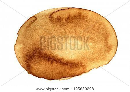 Oval coffee stain isolated on white background  - space for ext