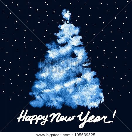 Happy New Year! - Blue Christmas tree with snow - raster illustration
