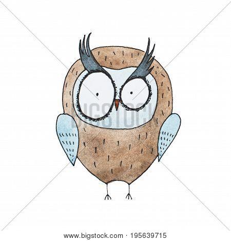 Cartoon owl hand drawn Watercolor aquarelle illustration.