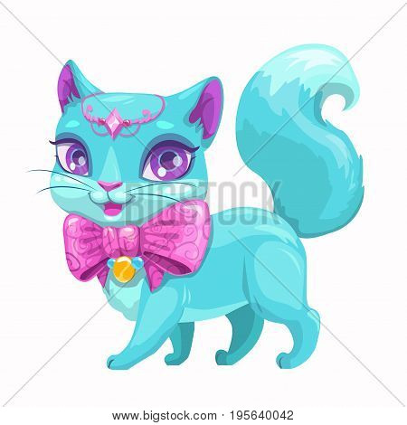 Cute cartoon beautiful princess cat with with beautiful pink bow and diadem. Vector kitty icon. Isolated on white background.