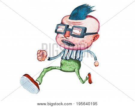 Stylish middle-aged cartoon man in square glasses with big head and cowlick hairstyle running away from someone.
