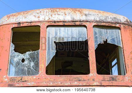 Broken Window Of A Train