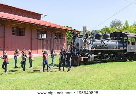 Children Visiting The Open Air Museum Estrada De Ferro Madeira-mamore